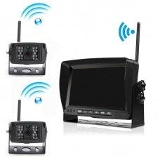 """HD беспроводные камеры заднего вида 2 штуки для грузовиков 12/24В с монитором 7"""""""